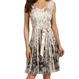 Frank Lyman Full Skirt Black & Cream Rose Dress 6